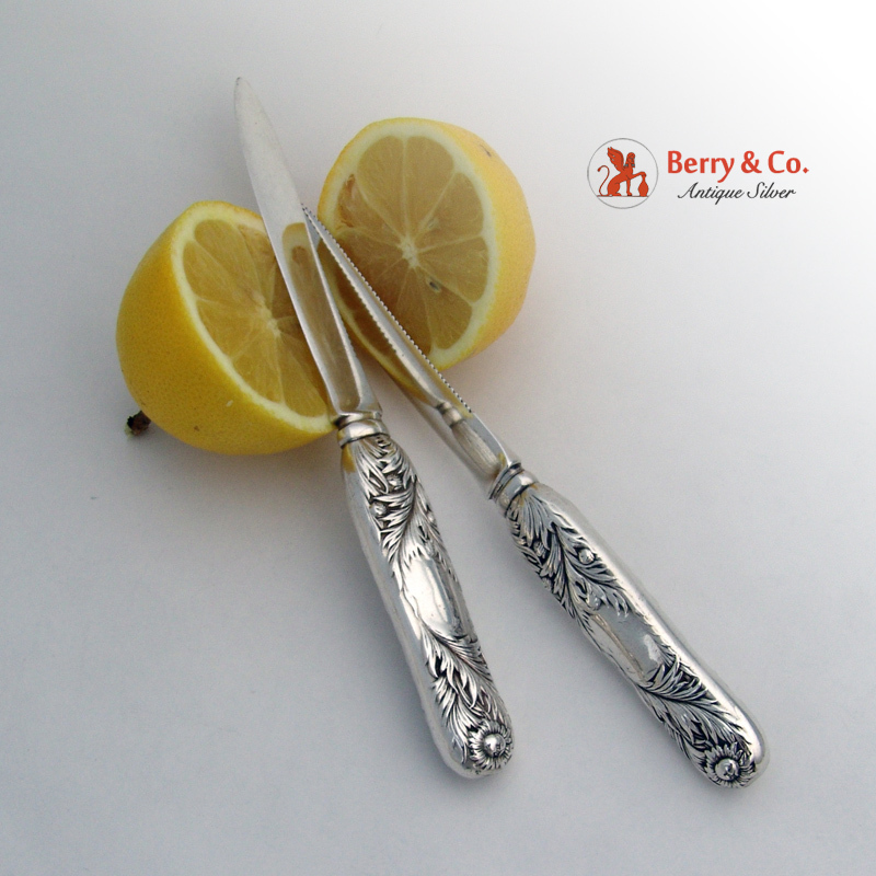 Tiffany Chrysanthemum 2 Fruit Knives Sterling Silver