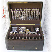 Ornate Extensive Old Baronial Flatware Set Gorham Sterling Silver 1898