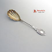 Coin Silver Twist Handle Engine Turned Serving Spoon
