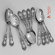 Imperial Chrysanthemum 12 Dessert or Oval Soup Spoons Gorham Sterling Silver 1894