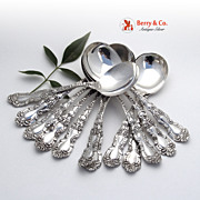 Imperial Chrysanthemum 12 Gumbo Soup Spoons Sterling Silver Gorham
