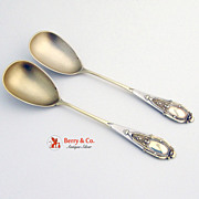 Ornate Serving Spoons 800 Silver Vermeil 1890