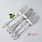 Medallion Set of 6 Dinner Forks Sterling Silver Schulz and Fischer