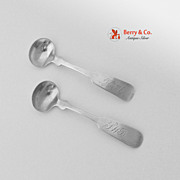 Fiddle Salt Spoons Pair Joseph Raynes Jones Lows Ball Boston Coin Silver 1839