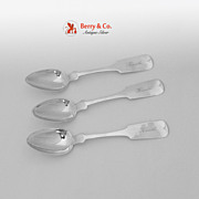 Coin silver 3 Teaspoons William Lawler San Francisco 1854 - 1882