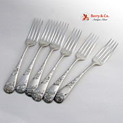Jac Rose Set of 6 Forks Gorham Silversmiths 1879