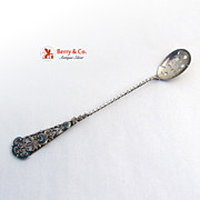 Ornate Long Handled Olive Spoon Sterling Silver and Enamel 1895