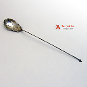 Sterling Silver Olive Spoon Spear Tip Handle 1900