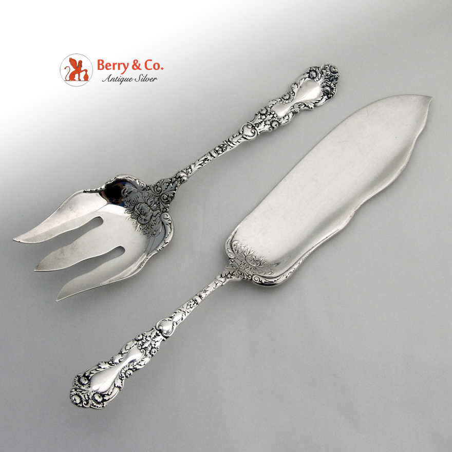 Imperial Chrysanthemum Fish Serving Set Sterling Silver Gorham 1894