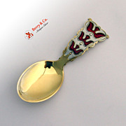 Norwegian Tea Caddy Spoon Sterling Silver Enamel Doves Einar Modahl