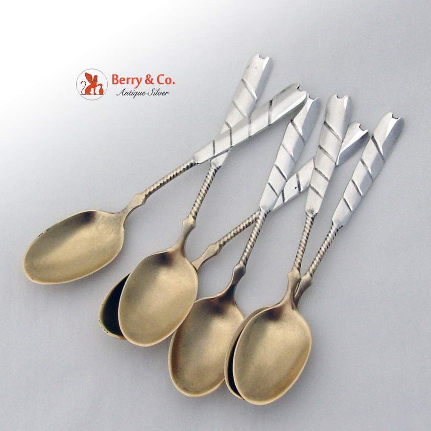 Sectioned twist handle demitasse spoons 6 sterling silver 1885 no from berrycom com flatware on - Twisted silverware ...