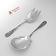 Rose Salad Serving Set Sterling Silver Stieff