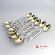 4  o`Clock Teaspoons 12 Pieces Bright  Cut  Sterling Silver Duhme