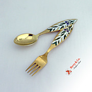 Christmas Spoon and Fork 1970  Michelsen Sterling
