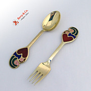 Christmas Spoon and Fork 1968 Michelsen Sterling