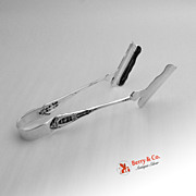 Rose Point Asparagus Tongs Sterling Silver Wallace 1934