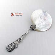 Serving Spoon Sterling Grape Leaf Twist Handle Natural Shell Bowl 1900