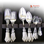Renaissance Revival Dinner and Luncheon Flatware Set 800 Silver 1890