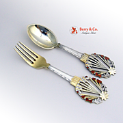 Michelsen Christmas Spoon and Fork 1922 Sterling Silver