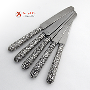 Repousse 5 Knives Sterling Silver Kirk All Around Repousse Blunt Blades