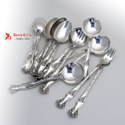 Vintage Grape Pattern Bouillon Spoons 5 Teaspoons 6 Cocktail Forks 3 Silverplate Rogers International 1904