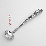 Repousse Floral Mustard Ladle Sterling Silver 1900 No Monogram