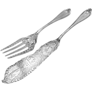 Josephine Fish Serving Set Coin Silver Galt Brothers 1855