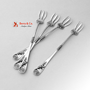 Cocktail Forks 4 Wood and Hughes Sterling Silver Scroll Decorations