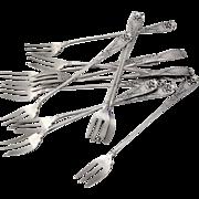 Figural 12 Cocktail Forks Sterling Silver Gorham Silversmiths 1885