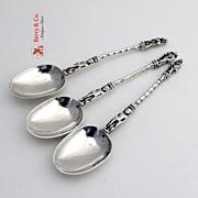 Apostle 3 Coffee Spoons Sterling Silver Hanau Silver 1890