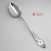 Platter Spoon Engraved Medallion Newell Harding Coin Silver 1870 Monogram D