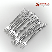 Louis XV Set of 12 Cocktail Forks Sterling Silver Whiting 1891
