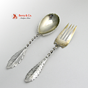 Salad Serving Set Feather Edge Sterling 1880