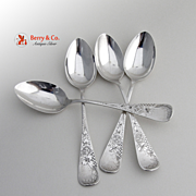 Brite-Cut Coffee Spoons Sterling Silver 4 Pieces Whiting