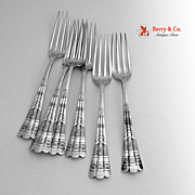 Luxembourg Regular Forks 6 Pieces Sterling Silver G. Shiebler 1885