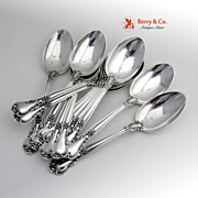 Chantilly Place Soup Spoons Sterling Silver 12 Pieces Gorham 1895