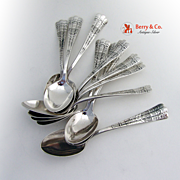 Luxembourg Teaspoons 12 Pieces Sterling Silver Shiebler 1885