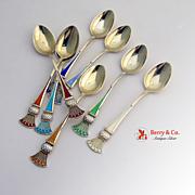 Enamel 8 Demitasse Spoons Sterling Silver Gilt Tostrup 1930