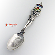 Canadian Souvenir Spoon Indian Figure Sterling Silver Ellis 1910