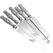 Louis XV Dinner Knives Blunt 8 Pieces Sterling Silver Whiting 1891