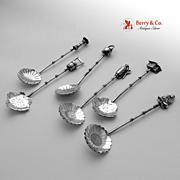 Japanese Figural 6 Salt Spoons Sterling Silver