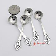 Openwork Salt Spoons Set of 4 Sterling Silver