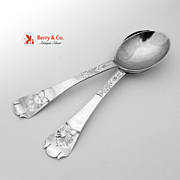 Swedish 830 Silver Serving Spoons Pair Hallberg 1897
