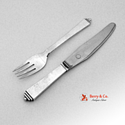 Pyramid Luncheon Set Fork and Knife Georg Jensen Sterling Silver Stainless Steel Denmark 1927