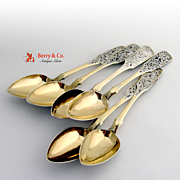 Russian Niello 6 Table Spoons 1867 Moscow 84 Standard Silver