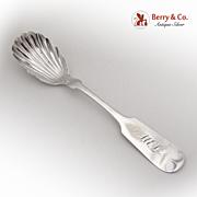 Shell Sugar Spoon 1870 Coin Silver