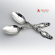 Lily Teaspoons Pair Whiting 1902 Sterling Silver