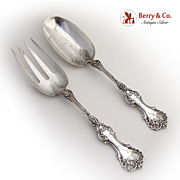 Pompadour Salad Serving Set Whiting Sterling Silver