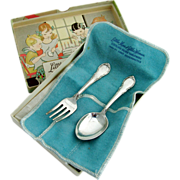 Lunt Modern Victorian Baby Fork And Spoon With Box And Bag Sterling Silver 1941
