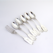 Set of 6 Pieces Teaspoons Dessert Fork Coin Silver